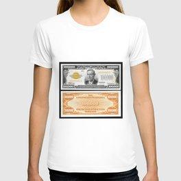 Vintage 1934 $100,000 Dollar Bill Gold Certificate Woodrow Wilson Wall Art T-shirt