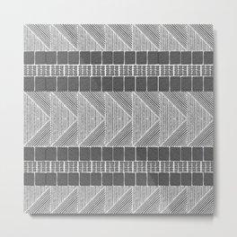 Black and White Line Art Metal Print