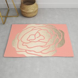 Rose White Gold Sands on Salmon Pink Rug