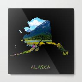 Alaska Outline - God's_Country Metal Print