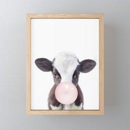 Bubble Gum Baby Cow Framed Mini Art Print