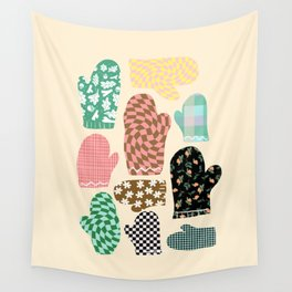 Winter fun - Colorful Retro Mittens Pattern Wall Tapestry