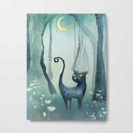 Cat in the forest Metal Print