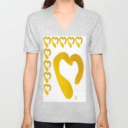 Gold Hearts on White - Love is Golden Unisex V-Neck