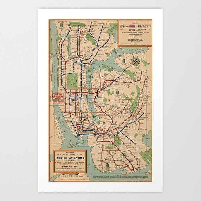 New York City Metro Subway System Map 1954 Kunstdrucke