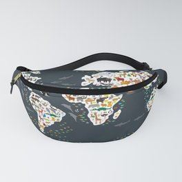Cartoon animal world map for kids, back to school. Animals from all over the world Fanny Pack