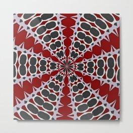 Red Black White Pattern Metal Print