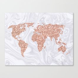 Rose Gold Glitter World Map on White Marble Canvas Print