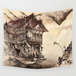 Steampunk Landscape Wall Tapestry