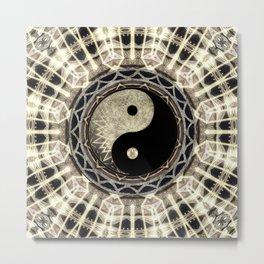 Yin Yang Geometry Mandala V1 Metal Print
