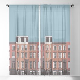New York City, NYC, West Village Travel Poster Sheer Curtain