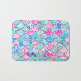 Colorful Pink and Blue Watercolor Trendy Glitter Mermaid Scales  Bath Mat
