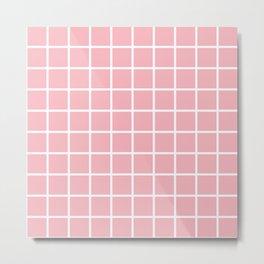 Coral Grid Pattern 2 Metal Print
