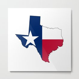 Texas Map Outline and Flag Metal Print