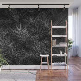 spiky plant texture abstract in black and white Wall Mural