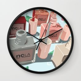 Nail Polishes Flatlay Wall Clock