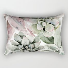 Circular Succulent Watercolor Rectangular Pillow