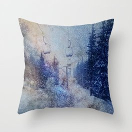 Chairlift into the Universe // Milky Way Galaxy Snowboarding Snow Nebula Stars Mixed Media Popart Throw Pillow