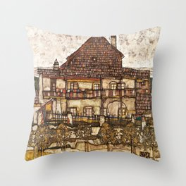 Egon Schiele - House with Shingle Roof, 1915 Throw Pillow
