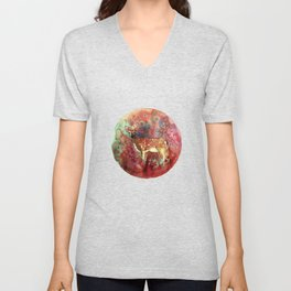 watercolor deer Unisex V-Neck