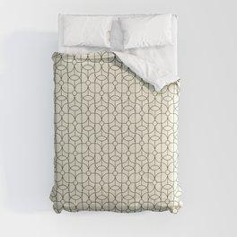 Mid Century Deco Line Floral Circle Print White Comforters