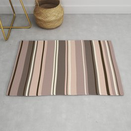 Mixed Striped Design Browns Taupe Creams Rug