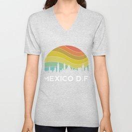Mexico DF Retro Mexican Vintage Hispanic Latino Ciudad Architecture Unisex V-Neck