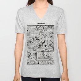 1932 Night-Club Map of Harlem, NY Centerfold from Manhattan Weekly by Elmer Simms Campbell Unisex V-Neck