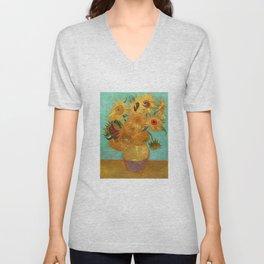 Vincent Van Gogh Twelve Sunflowers In A Vase Unisex V-Neck