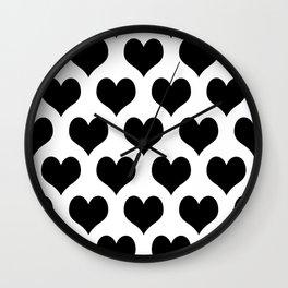 White And Black Heart Minimalist Wall Clock