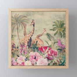 Vintage & Shabby Chic - Tropical Animals And Flower Garden Framed Mini Art Print