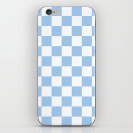 Checkered - White and Baby Blue iPhone Skin
