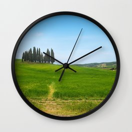 Beautiful spring minimalistic landscape with Italian Cypress on the green hills in Tuscany countrysi Wall Clock
