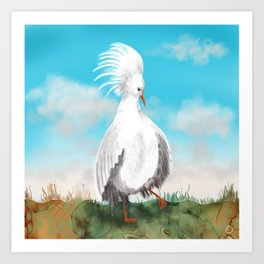 Wobbly Kagu Bird from New Caledonia Art Print
