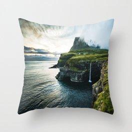 waterfall at faroe Throw Pillow