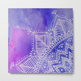 Mandala flower on watercolor background - purple and blue Metal Print
