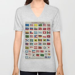 National Flags by an unknown artist showing emblems and flags of different countries Unisex V-Neck