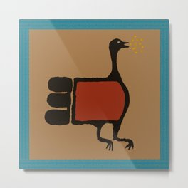 Turkey Petroglyph with Turquoise  Metal Print