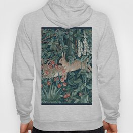 William Morris Forest Rabbits and Foxglove Greenery Hoody