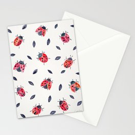 Lucky Ladybugs & Black Leaves Stationery Cards