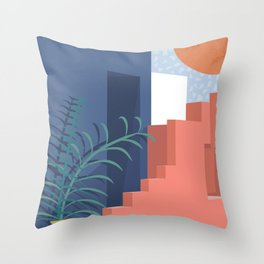 A Mediterranean view with plants and sun Throw Pillow