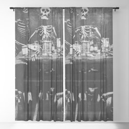 Six Skeletons Smoking Sheer Curtain