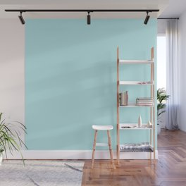 Pastel Turquoise Blue Solid Color Block Wall Mural
