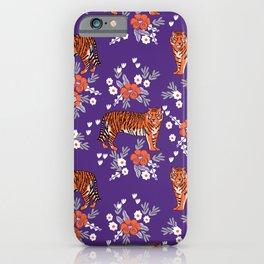 Tiger Clemson purple and orange florals university fan variety college football iPhone Case