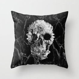 Floral Marble Skull Throw Pillow
