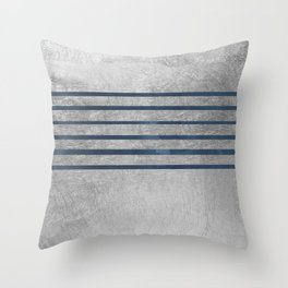 Elegant silver navy blue watercolor stripes Throw Pillow