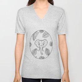 Elephant Botanical Tropical Plant Illustration Unisex V-Neck