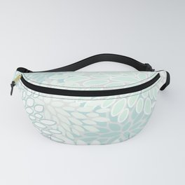 Floral Prints, Soft Teal, Mint Green and White, Modern Print Art Fanny Pack