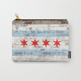 Chicago Flag on Brick Wall Urban City Pride  Carry-All Pouch