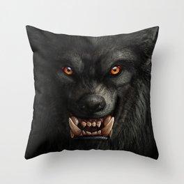 Creepy Art, Halloween, Werewolf, Horror Art Throw Pillow